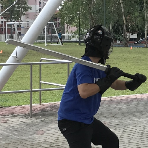 Sparring with Helmet and Padded Swords